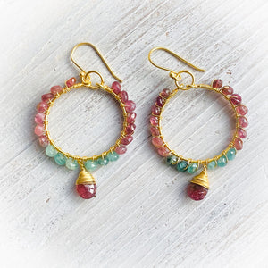 Pink Tourmaline Burst Hoop Earrings