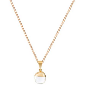 Decadorn Gold Mini Tumbled Pendant - Quartz