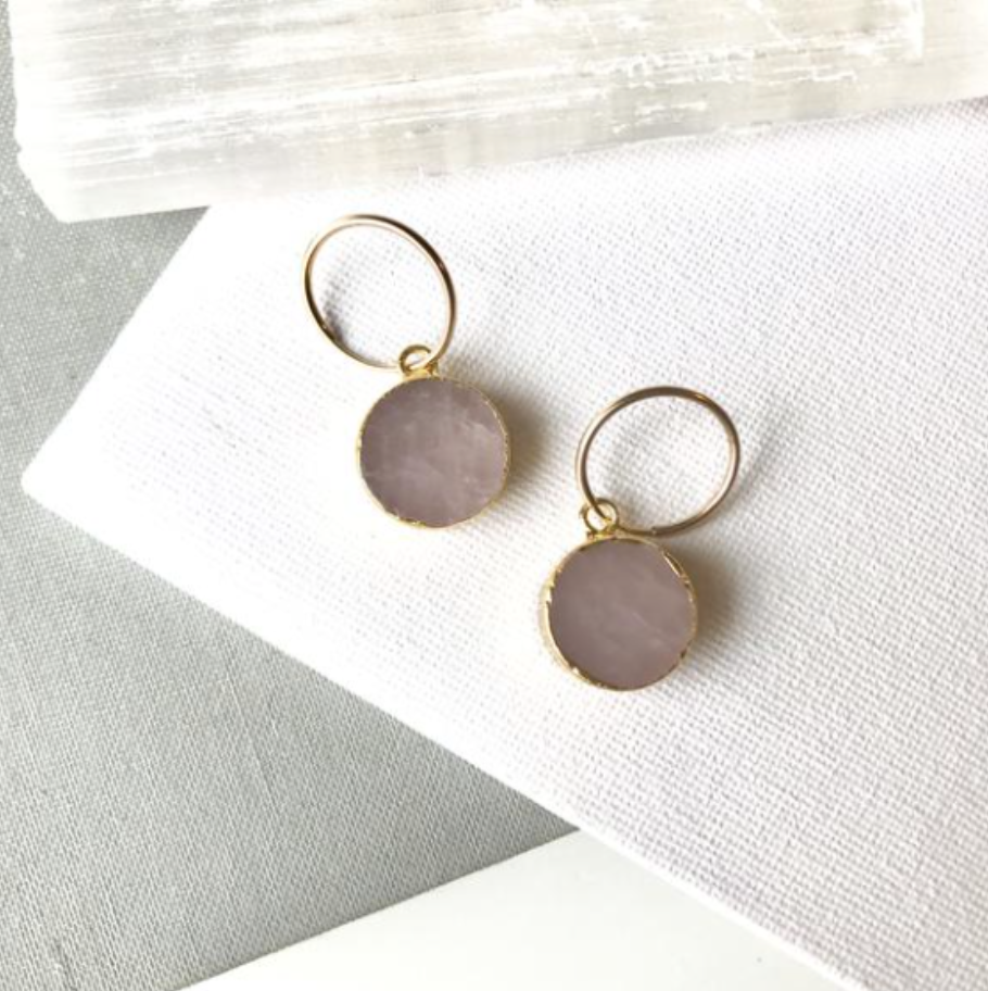 Decadorn Gold Mini Circle Mini Thick Hoop Earrings - Rose Quartz