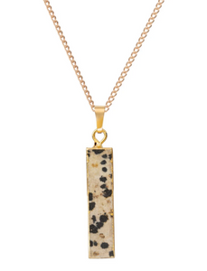 Decadorn Gold Dalmatian Jasper Statement Pendant - Black & White