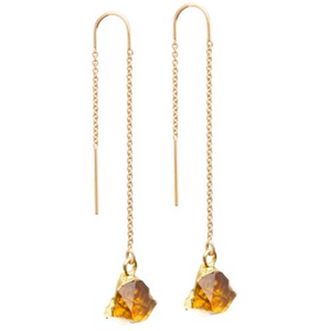 Decadorn Mini Raw Cut Gemstone Gold Fill Threader Earrings - Citrine