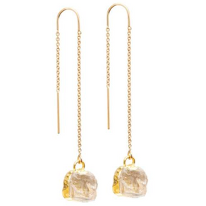 Decadorn Mini Raw Cut Gemstone Gold Fill Threader Earrings - Quartz