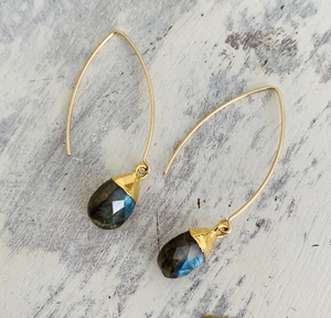 Decadorn Gold Labradorite Amulet Dropper Earrings