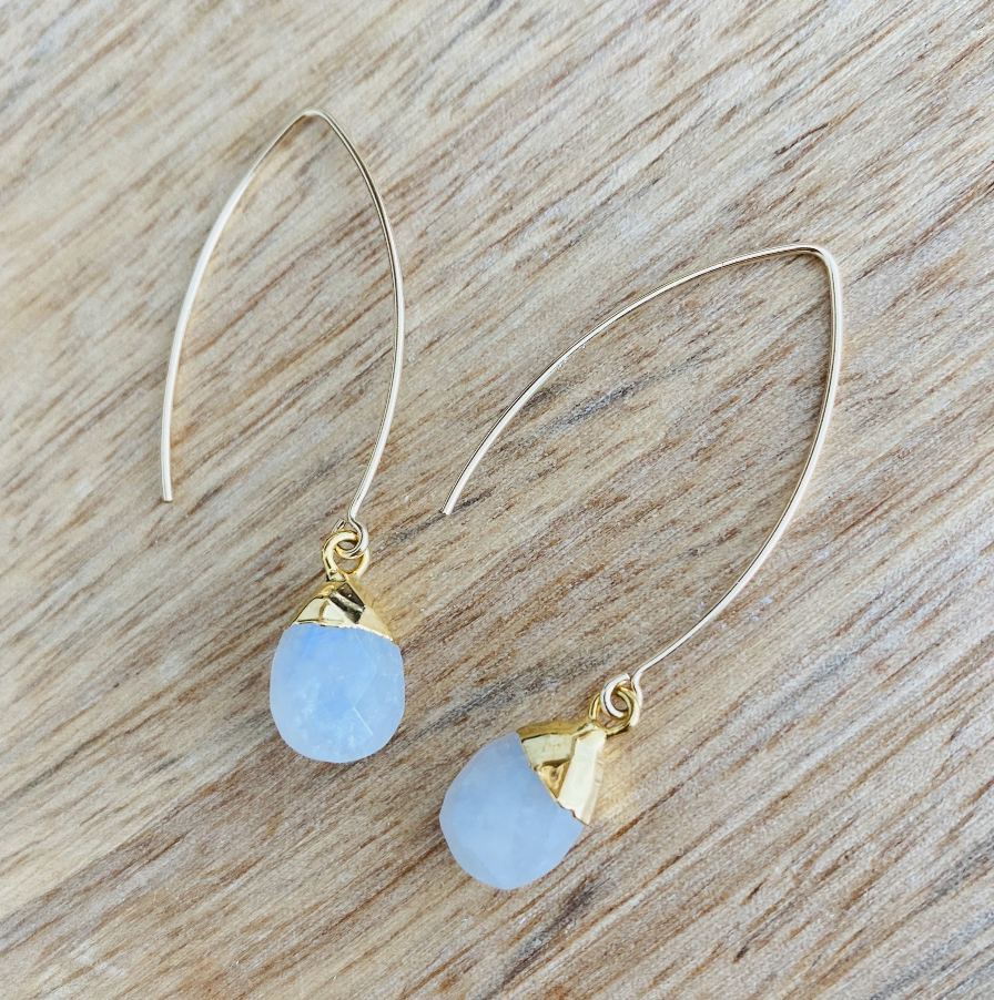Decadorn Blue Lace Agate Gold Amulet Droplet Dropper Earrings