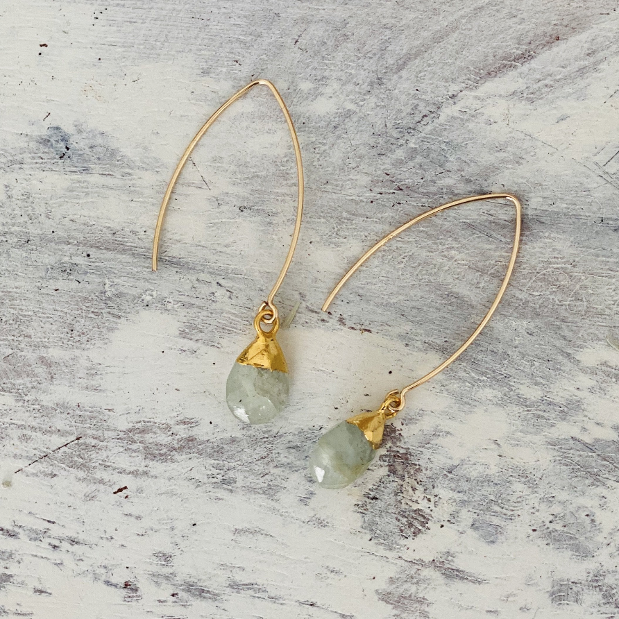 Decadorn Aquamarine Gold Amulet Droplet Dropper Earrings