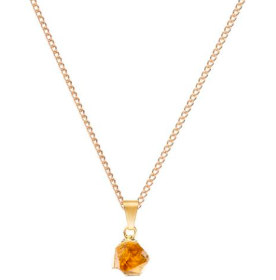 Decadorn Citrine Gold Mini Raw Cut Gemstone Pendant