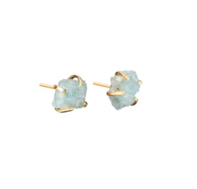 Decadorn Gold Birthstone Earrings - March Aquamarine