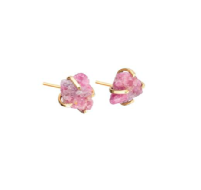 Decadorn Gold Birthstone Stud Earrings - October Pink Tourmaline