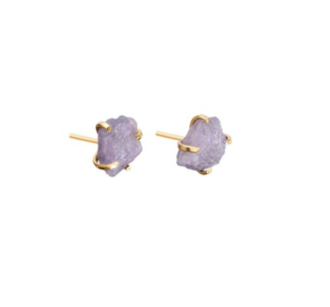 Decadorn Gold Birthstone Stud Earrings - December - Tanzanite