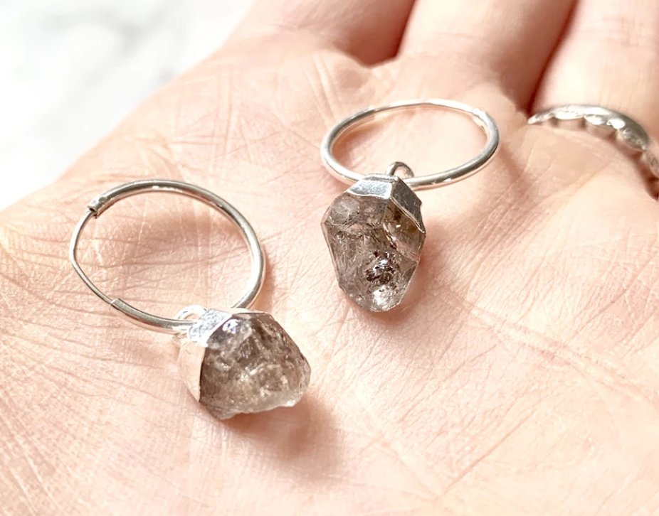 Decadorn Silver Birthstone Hoop Earrings - April Herkimer Diamond