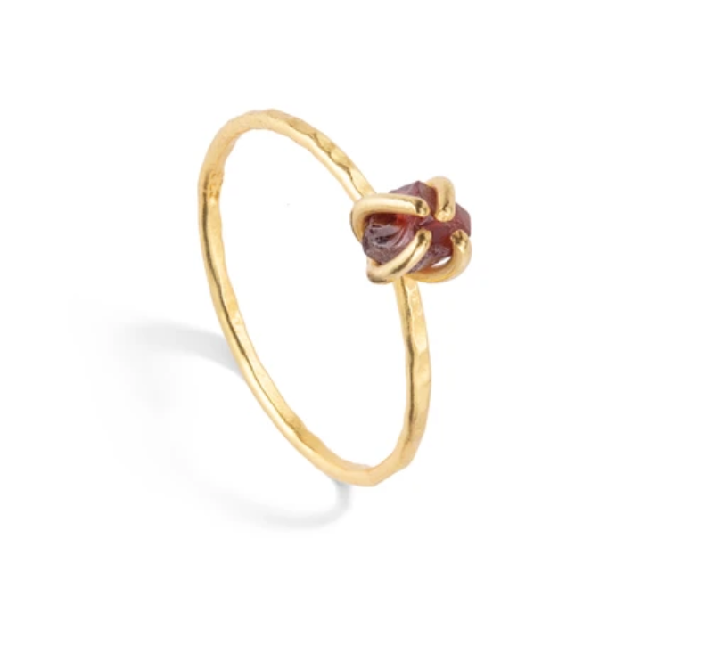 Decadorn Tiny Raw Cut Birthstone Ring - January Garnet