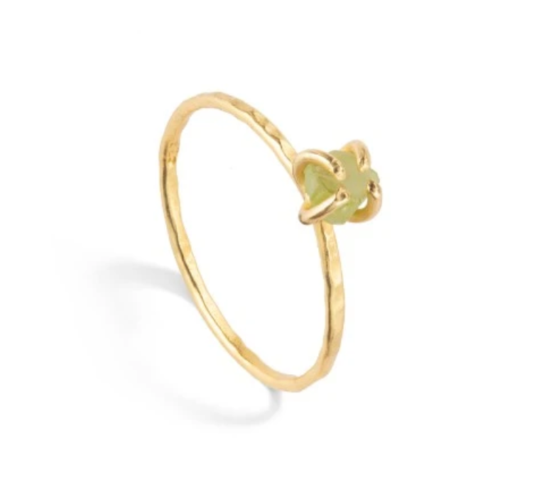 Decadorn Tiny Raw Cut Birthstone Ring - August Peridot