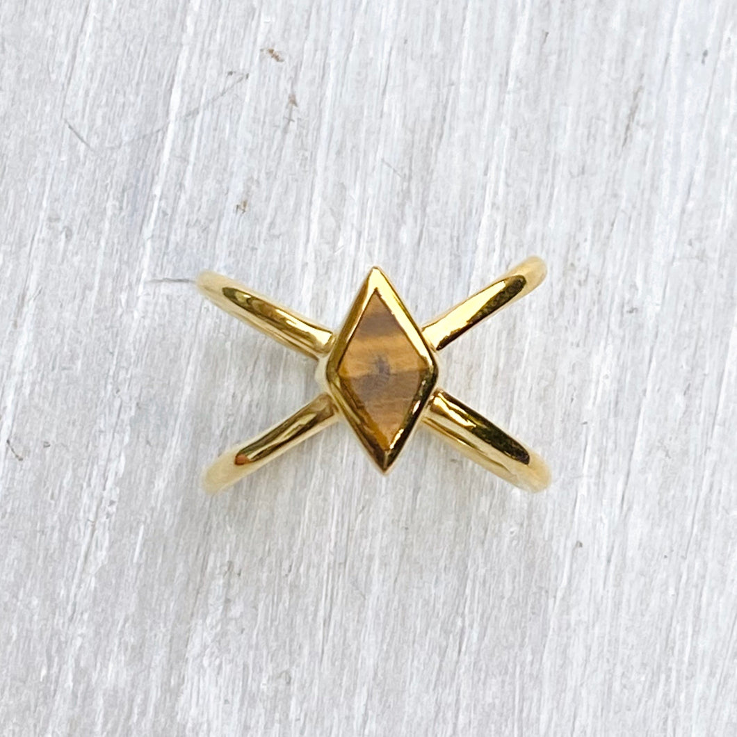 Tigers Eye Starburst Ring