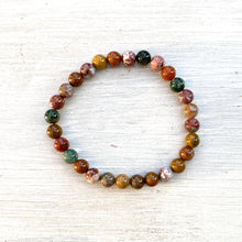 Load image into Gallery viewer, Ocean Jasper Bead Bracelet (6mm beads)