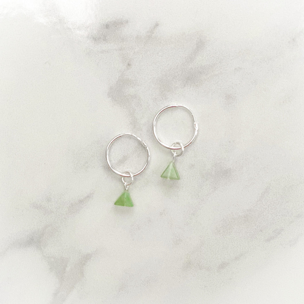 Aventurine Mini Hoops Sterling Silver (15mm)