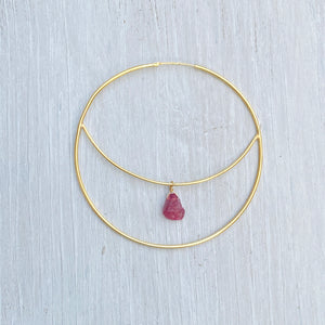 Pink Tourmaline Crescent Moon Earring