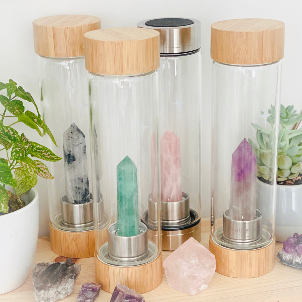 Tourmalinated Quartz Crystal Water Bottle (available in Bamboo & Stainless Steel)
