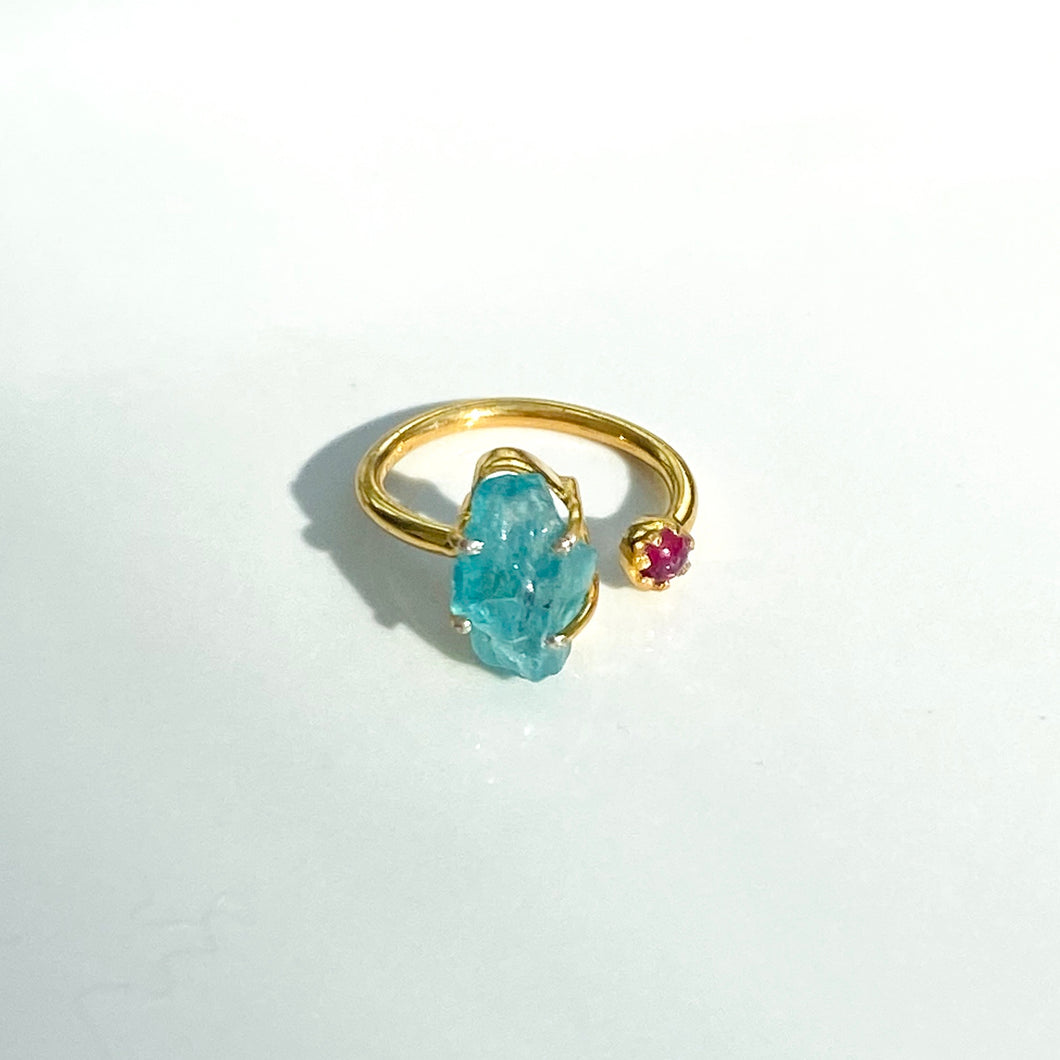 Duet Apatite + Ruby Ring (adjustable)