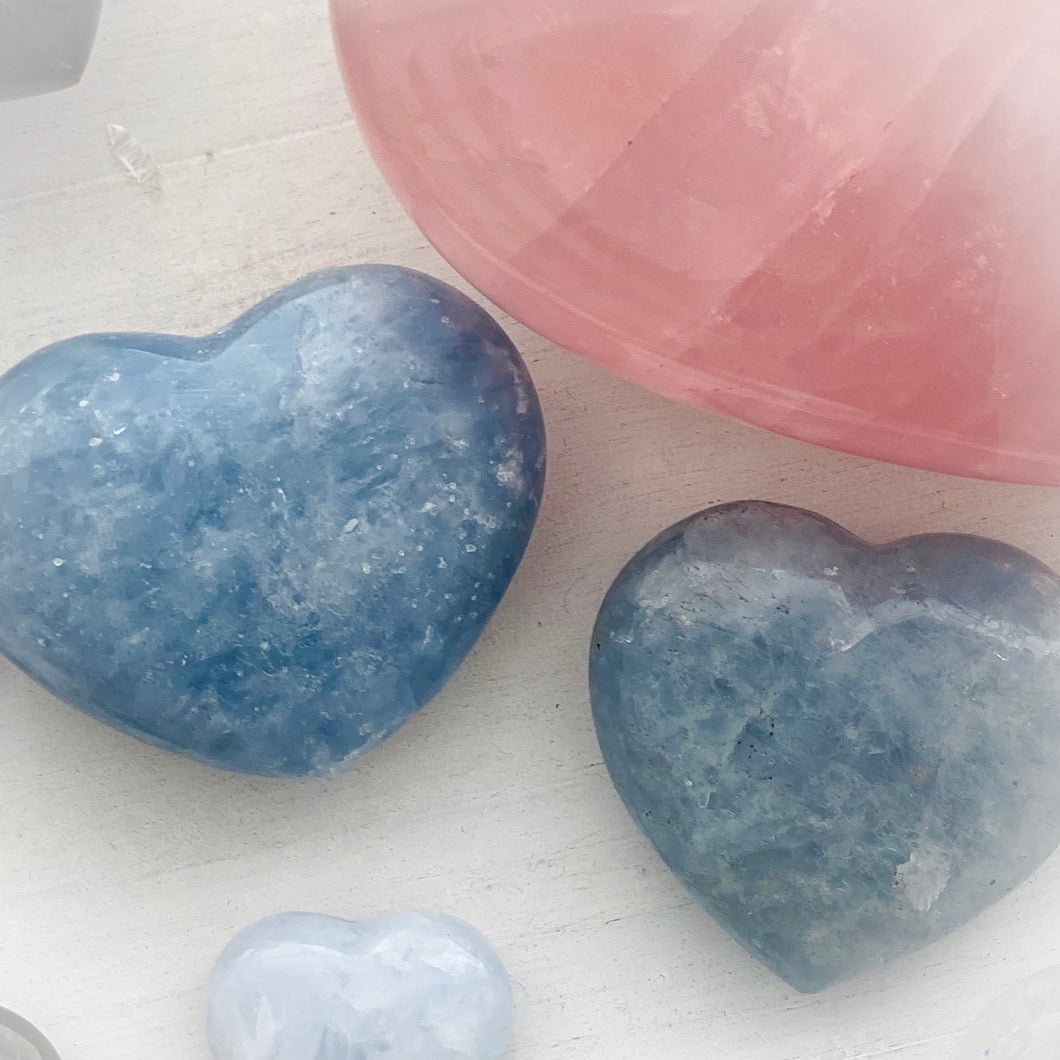Blue Calcite Heart Large