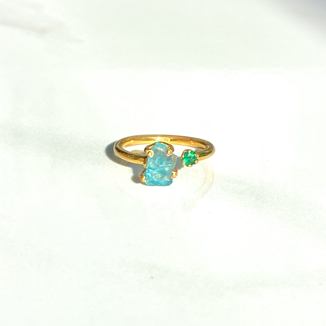 Duet Apatite + Emerald Ring (adjustable)