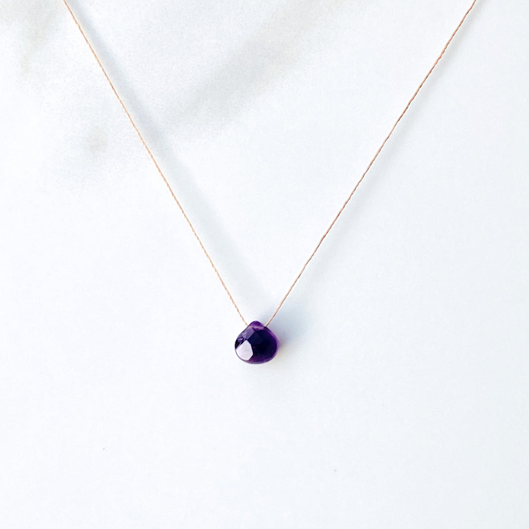 Amethyst Delicate Silk Chord Necklace