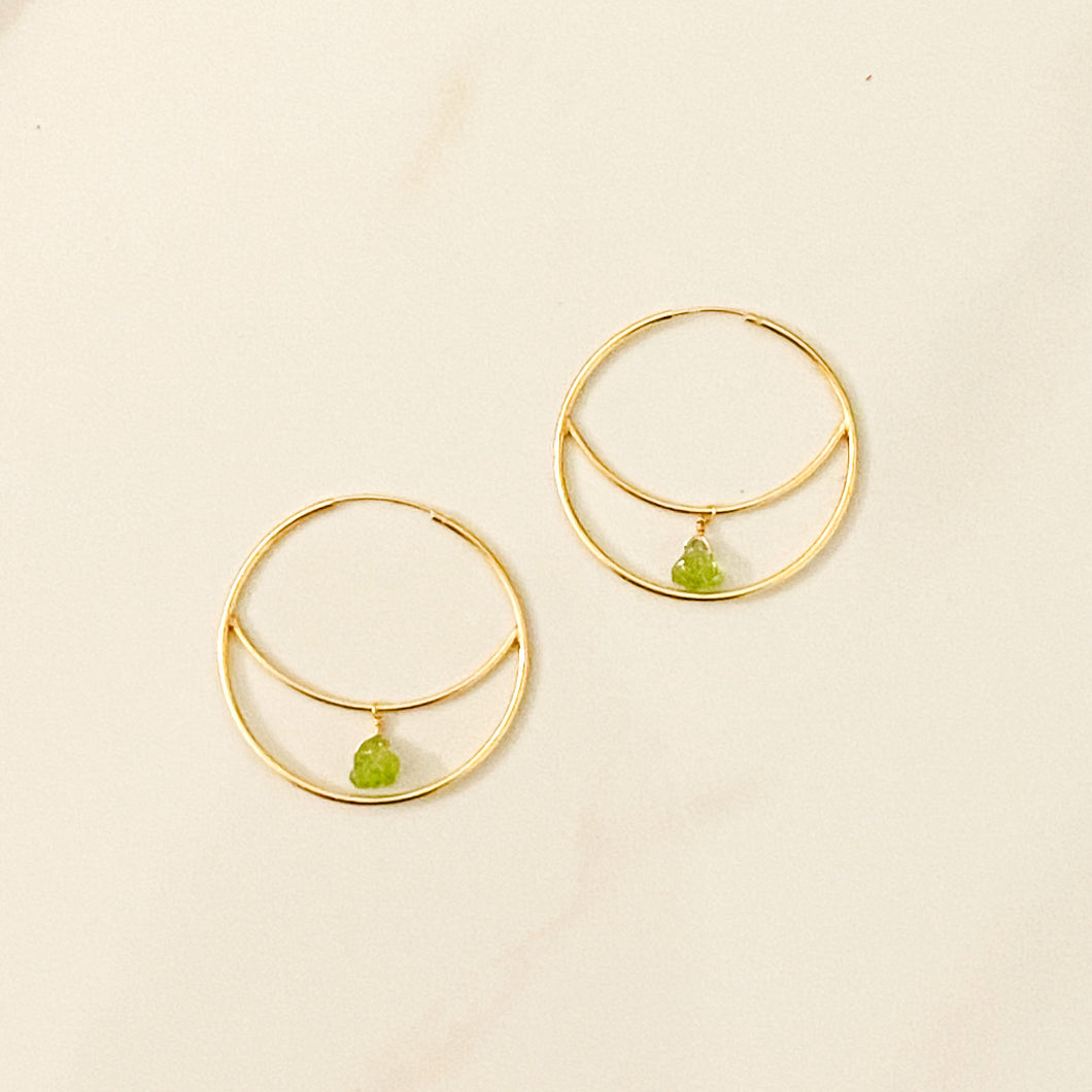 Peridot Crescent Moon Earring (35mm, Gold & Silver available)