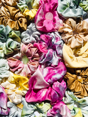 naturally dyed silk hair scrunchies - earthen yourself