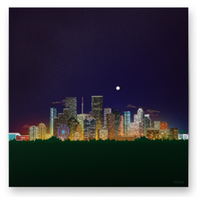 Load image into Gallery viewer, 8-bit Houston Skyline (Night) Print