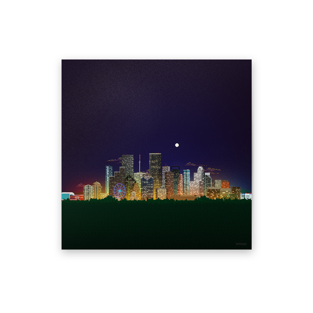 8-bit Houston Skyline (Night) Print