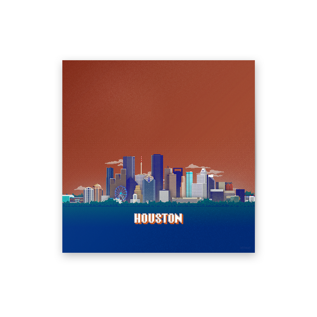 8-bit Houston Skyline (Orange) Print