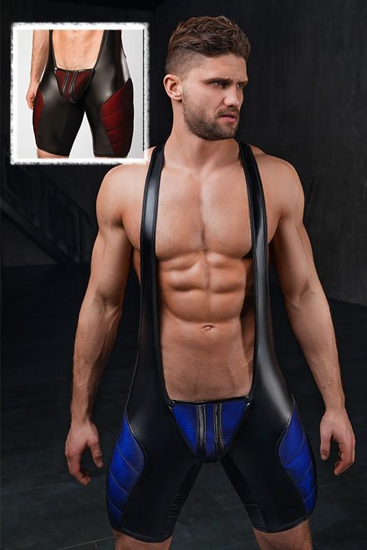 Maskulo Men's 3D-mesh Pads Zipped Rear Fetish Wrestling Singlet