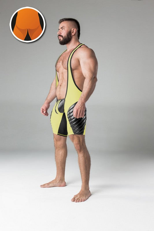 Maskulo yellow navy blue full thigh pads regular rear wrestling singlet