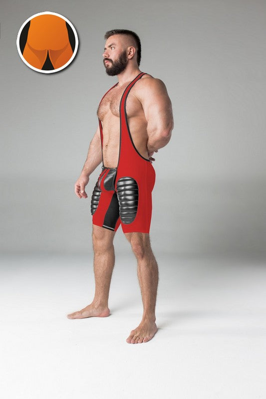 Maskulo thigh pads regular rear wrestling singlet