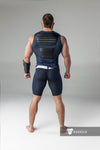 Maskulo yellow navy blue thigh pads zippered rear cycling shorts