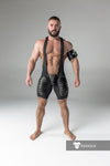 Maskulo thigh pads open rear wrestling singlet