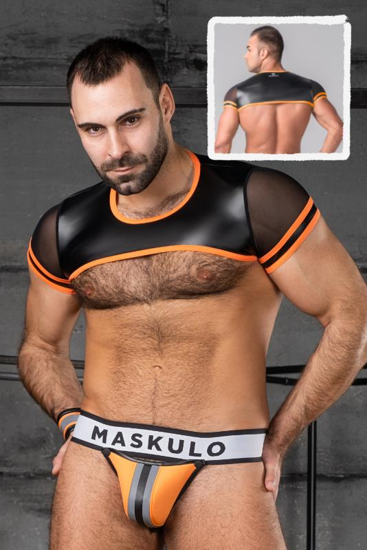 Maskulo Mesh Sleeves Neon Crop Top