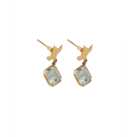 18K Gold and Aquamarine Stud Earrings