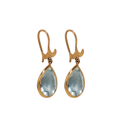 18K Gold and Aquamarine Stud Drop Earrings