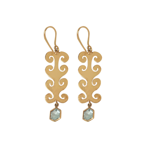 18K Gold and Aquamarine Large Earrings