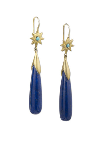 Star Hook Long Drop Ears with Turquoise & Lapis