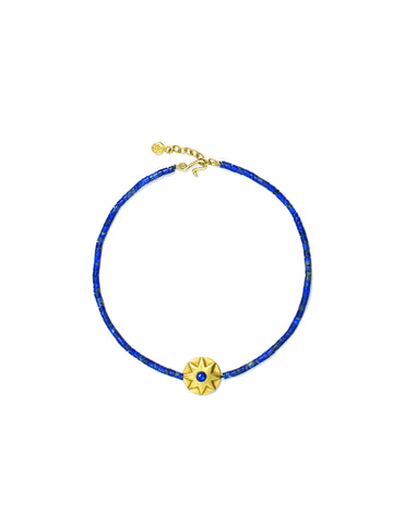 Large Round Lapis Star Bracelet with Lapis Beads
