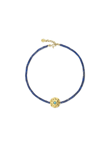Large Round Turquoise Star Bracelet with Lapis Beads