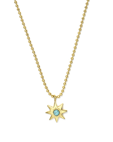 Large Cut Turquoise Star Pendant Necklace