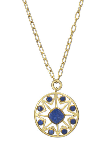 Lapis Octagon Pendant Necklace