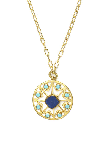 Turquoise and Lapis Octagon Pendant Necklace