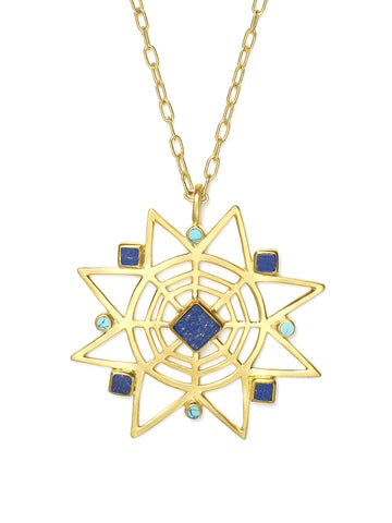 Star Lapis and Turquoise Pendant Necklace