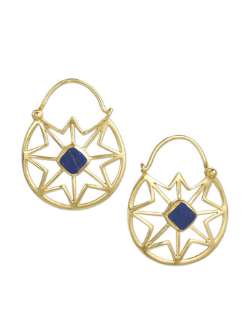 Gold and Lapis Cobweb Latch Earrings