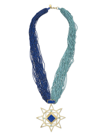 Fine Lapis and Turquoise Bead Star Necklace