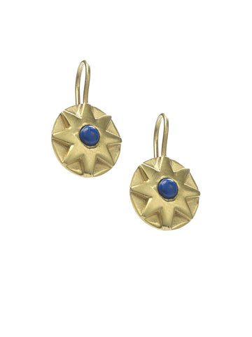 Large Star Lapis and Gold Earrings