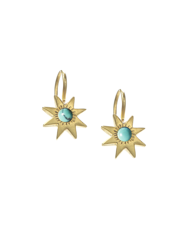Star Hook Earrings with Turquoise